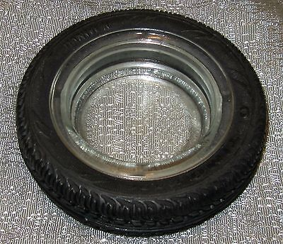 Vintage Car tire ashtray auto in glass and rubber