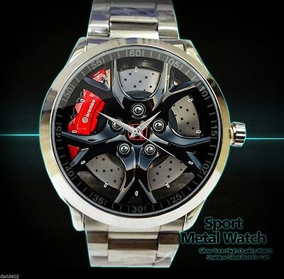 New Rare Honda Civic Type R Rims Stainless Steel Sport Metal Watch Men's New