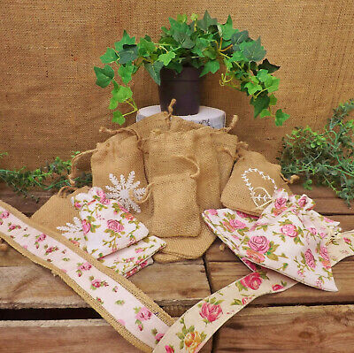 Hessian Jute Floral Rose Cotton Linen Sacks Party Bag Gift Pouch Wedding Favours