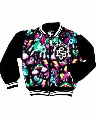Six Bunnies Unicorns Varsity Kids Jacket Rainbow Cool MLP Pegasus Heart Skull