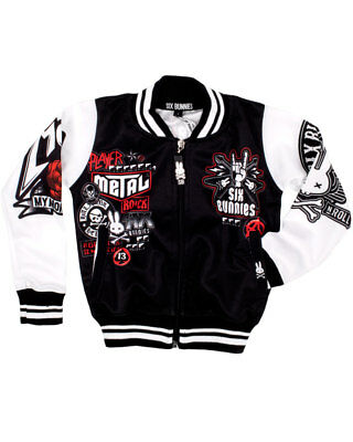 Six Bunnies Metal Fan Varsity Kids Jacket Cool Punk Music Rock Coat Black Tattoo