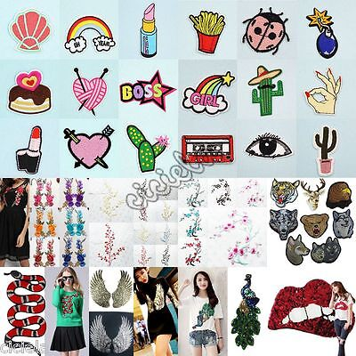 Embroidered Sew Iron On Patches Lots Motif Badge Bag Fabric DIY Applique Crafts