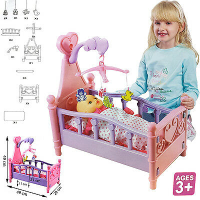Baby Kids Children Girls Role Play Toy Cradle Crib Dolls Cot Bed Pink Fun Gift
