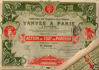 DROPDEAD GORGEOUS 1899 PARIS TROLLEY BOND w ALL COUPONS! SO HISTORIC What a FIND