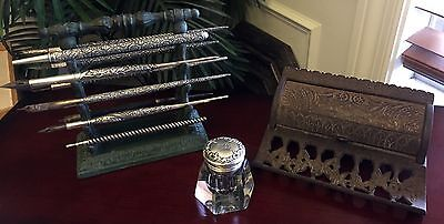 COLLECTION~Sterling Silver 10 DIP PENS HOLDER INK WELL Victorian Antique NOUVEAU