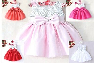 Baby Girls Dress Christening Wedding Flower Girl Princess Party Outfit Ivory