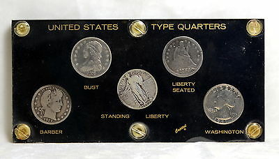 UNITED STATES  QUARTER  TYPE  SET ~NICER BUST ~  All 5 Coins  in CAPITAL HOLDER
