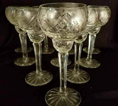 Set of 10 Bohemian Pattern Crystal Clear Glass French Style Sorbets