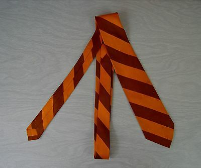 Vintage 1960s Brown and Yellow Stripe Polyester Tie