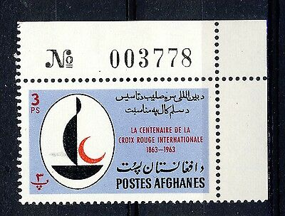 AFGHANISTAN - 1963 Mi.800A Corner Example with Sheet Number Neuf / Mint **(*)
