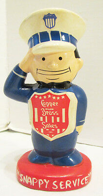 "Copper And Brass Sales Vintage ""snappy Service"" Figural Ceramic Advertising Bank"