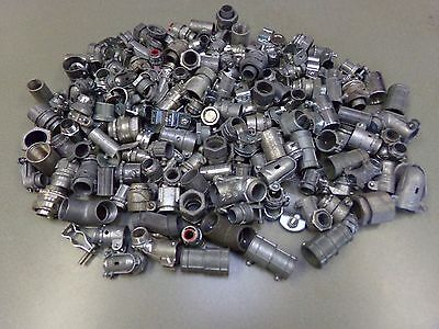 "Mixed Lot of 180 1/2""-3/4"" EMT, Rigid, Flex Conduit Connectors Couplings Hangers"