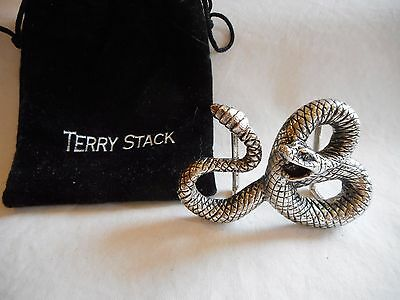 Terry Stack Snake Belt Buckle - Silver-tone
