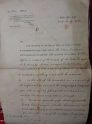 1880 India Office Letters Re Estate Michael Murphy Madras Medical Establishment