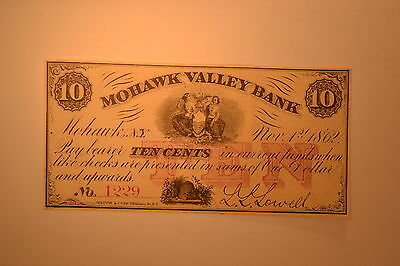 Mohawk Valley Bank, Mohawk, NY,  1862 10 cents- Extremely Fine or better.