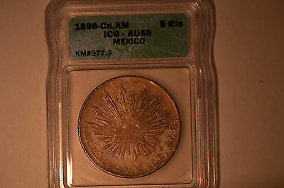 Mexico:  1896-Cn,AM  8 Reales.  ICG AU-55  KM#377.3.  Lovely original coin!