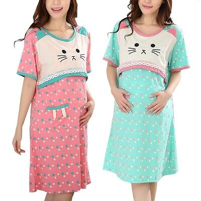 New Pregnant Women Sleepwear Cartoon Animal Maternity Pajama Short Sleeve Dress