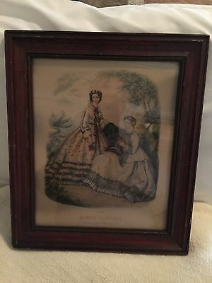 Vintage Framed Victorian Advertising Fashion Print La Mode Illustree