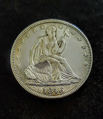 1846 LIBERTY SEATED  HALF DOLLAR  50C Silver BU  RARE  170 Years Old Beauty