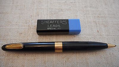 Vintage Sheaffer Mechanical Pencil Tuckaway Black & Gold w/ Box of Lead Refills