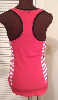 Womens NIKE DRI FIT Pink Striped Ribbed Running Tank Size S