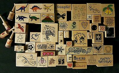 Lot of 53 Rubber Stamps Various Wood Mounted Hobby Dinosaurs,Insects, Clown ect.