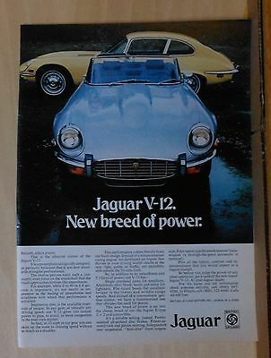 Vintage 1973 magazine ad for Jaguar V-12 - New Breed of Power, convertible