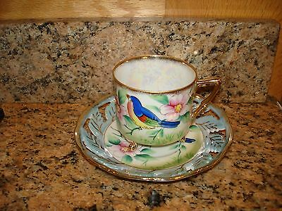 Vintage Three Footed Cup Saucer Turquoise Birds Iridescent Hand Painted Japan