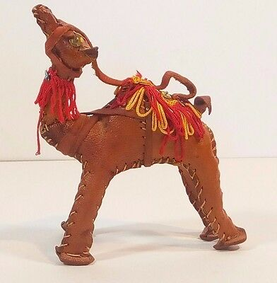 Beautiful Hand Made Stitched Leather Camel 5 Inch Tall Estate Find