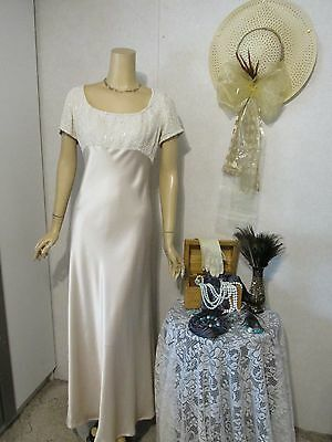 Mother Of The Bride Dress by Carmen Marc Valvo-Size 14-Iced Champagne-Beaded