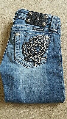 Miss Me Capri Jeans Embroidered Bling Rose-Girls Size 10