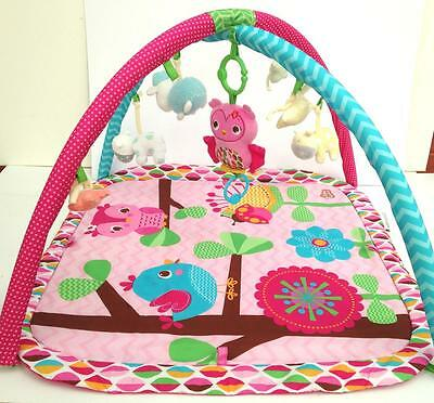 Bright Starts Baby Tummy Time Infant Girls Playmat with Gym Arches Pink
