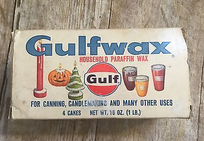 VTG GULF Gulfwax Household Paraffin Wax 1 lb. NOS Box 4 Cakes Canning Candles