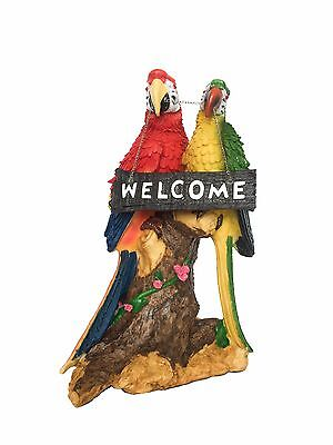 Macaw Parrot Welcome Pair Tropical Bird Figurine Statue Ornament
