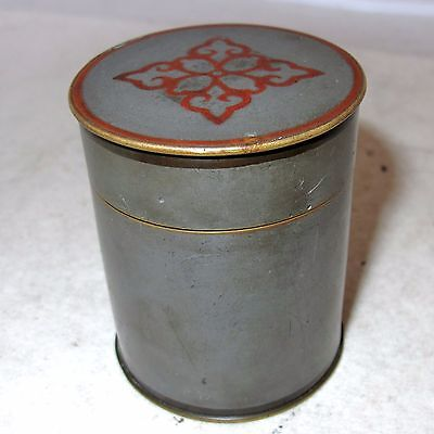 "Small Signed Antique Chinese Pewter & Bronze Teacaddy / Round Box  (2.6"")"