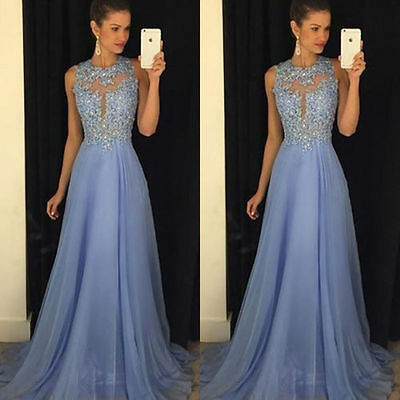 Summer Long Chiffon Lace Evening Formal Party Ball Gown Prom Bridesmaid Dress