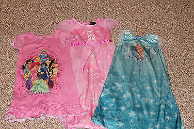 Lot of 3 girls night gowns size 4T (2 Disney)