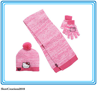 NWT Girl's Hello Kitty Pom-Pom Hat Scarf & Gloves Set Pink #17415-202
