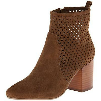 Report Signature 1940 Womens Travi Tan Suede Perforated Ankle Boots Shoes 8 BHFO