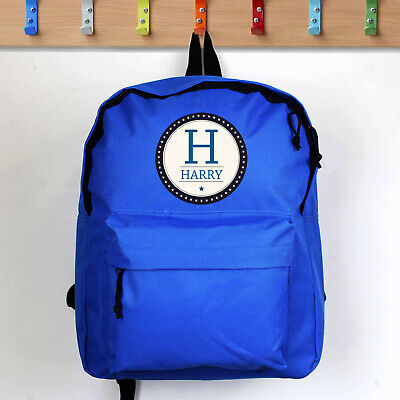 PERSONALISED Childrens Bag. BLUE School Backpack. KIDS Childs Boys Rucksack Gift