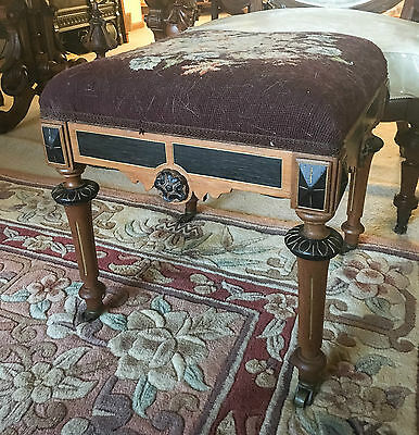 Excellent Victorian Walnut Renaissance Foot Stool w/floral needlepoint c.1870