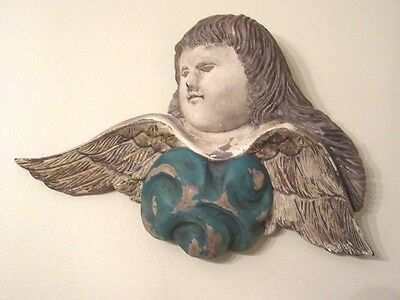 Old Hand Carved & Painted Santos Wooden Cherub On A Cloud Wall Hanging / Signed