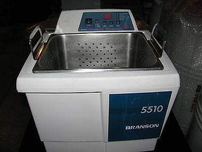 BRANSON ULTRASONIC CLEANER MODEL 5510R-DTH 9.2 L USED With Basket NO LID