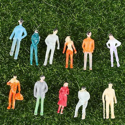 100pcs Color Painted People Model Plain People Assorted Pose Scenery Scale 1:200