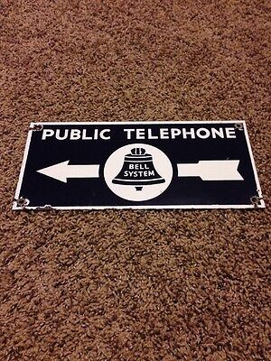 Vintage Public Telephone Bell System Double Sided Porcelain Sign