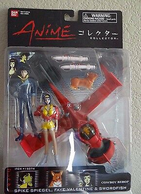 Cowboy Bebop Anime Collector Spike, Faye, Ein, And Swordfish Action Figure