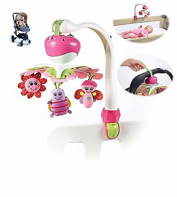 Baby Stroller Mobile Music Toy Toddlers Carrier Crib Toys Nursery Decor, Pink