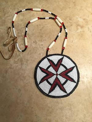 Native American beaded medallion shoshone made pow wow native crafts