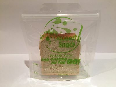 Squeezy Snack Reusable Sandwich Pouches 5 Pack (food snacks snaplock fruit lunch