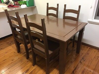 Chocolate brown dining table and chairs set